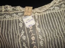 ANTIQUE WITH NAMM NY TAG LACE FINE OPEN COTTON BRODERIE WORK BIB FRONT / RUNNER